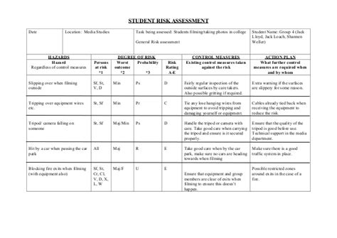student risk assessment template risk assessment form