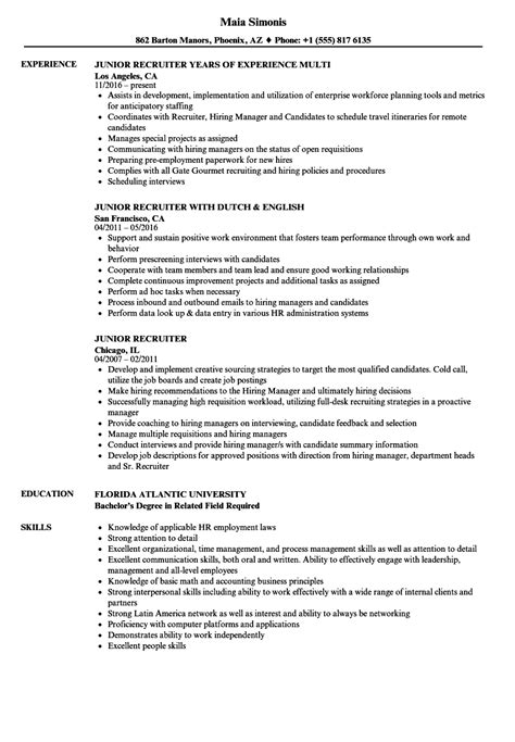recruiter sle resume human resources recruiter resume bullets vignette simple resume template format freearlifestyle info