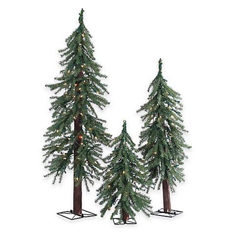 artificial christmas tree 3 pcs sets alpine pre lit 3 slim tree set with clear lights bed bath beyond