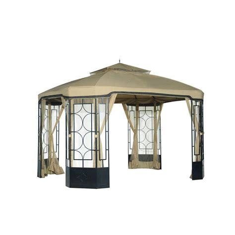 sunjoy portia 10 ft x 10 ft beige steel pop up gazebo