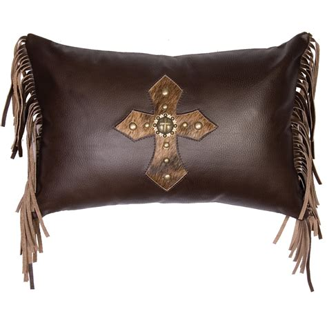 Leather With Pillows by Coffee Leather Fringed Pillow With Hair On Hide Concho