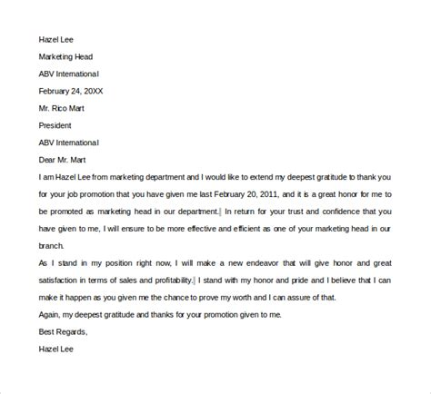 thank you letter after for promotion sle thank you letter template 16 free documents