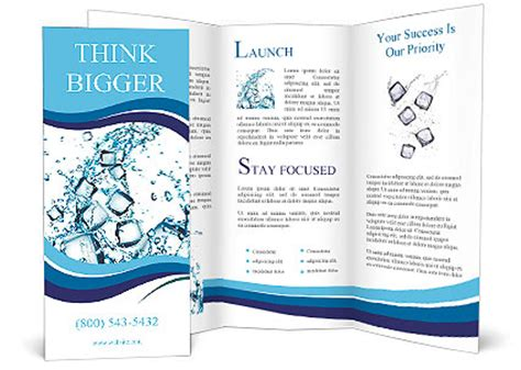 water splash with ice cubes brochure template design id