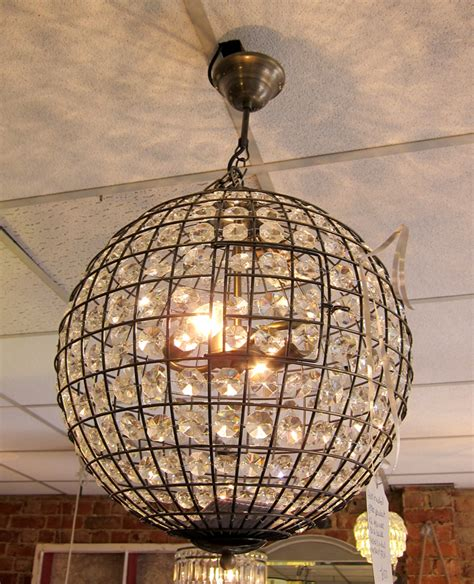 Beautiful, glass and metal large ball electric pendant