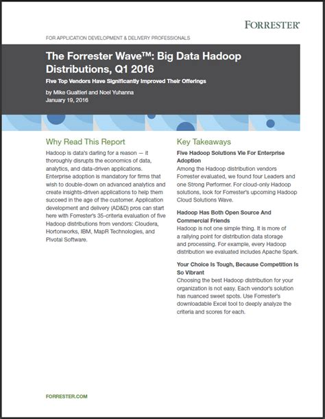 research paper on hadoop cloudera the forrester wave big data hadoop distributions