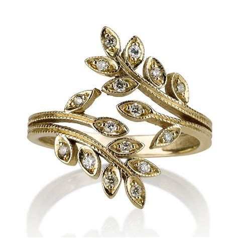 leaf pattern diamond ring 14k yellow gold ring leaf shape ring accented by