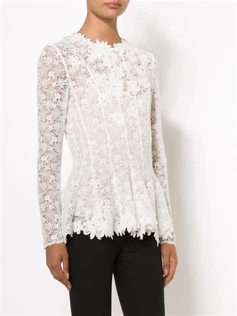Lace Blouse Black Flower lyst oscar de la renta floral lace blouse in white