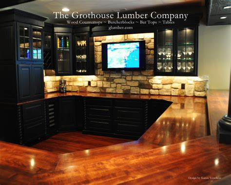 solid wood mahogany bar with classic chicago style bar