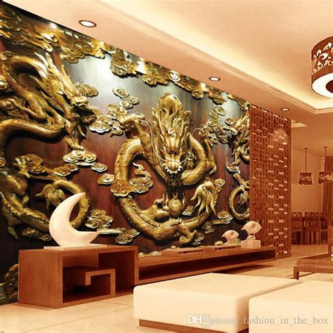 dragon home decor custom 3d wallpaper wood carving dragon photo wallpaper
