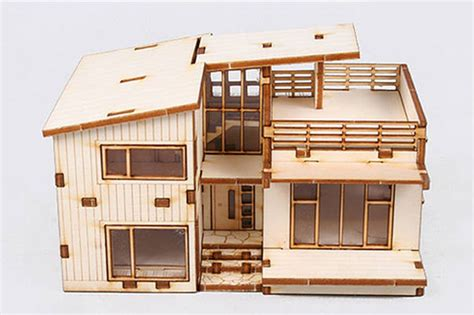 miniature homes models modern style house wooden model kit ho 3d wood miniature