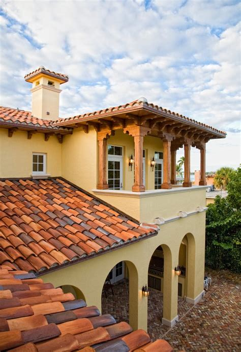 Mediterranean Roof Tile Redland Clay Tile Roof Exterior Mediterranean With Hedge Rectangular Window Boxes