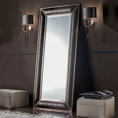 Woven Leather Rugs Italian Floor Standing Woven Leather Mirror
