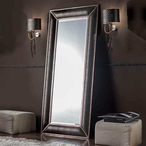 italian floor standing woven leather mirror