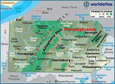 of pennsylvania colors map of pennsylvania large color map