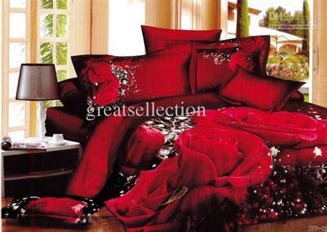 hot selling 3d red rose floral queen king size bedding sets reversible duvet cover bed sheet set