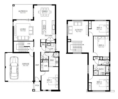 floor house plans apartments 2 story 4 bedroom house floor plans 2 story 4