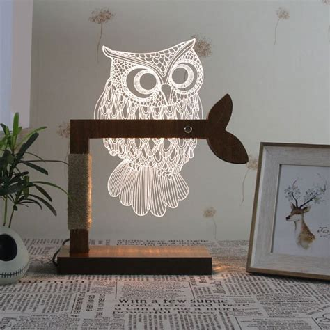 white owl home decor home decor 3d acrylic owl wooden base desk l in white