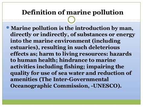 definition of borne off impact of human activities on global marine environment