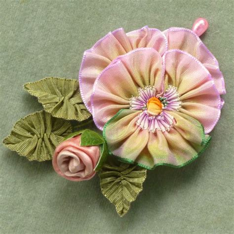Paper Ribbon Flower - ombre ribbon pansy silk satin bud millinery
