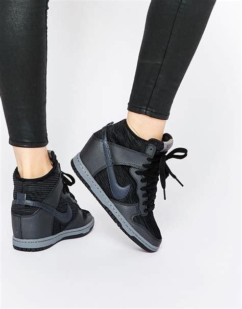 sky high wedge heels nike dunk sky hi black wedge trainers shoes