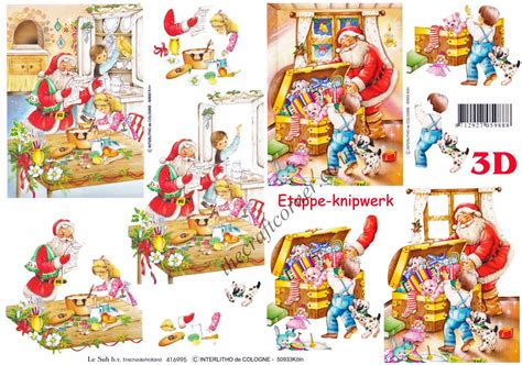 Decoupage For Children - santa with children designs 3d decoupage craft sheet