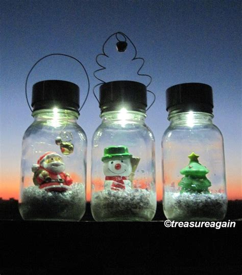 solar mason jar snow globe light santa christmas lights