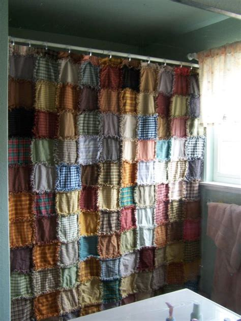 quilt pattern valance homespun rag shower curtains that i traded with for
