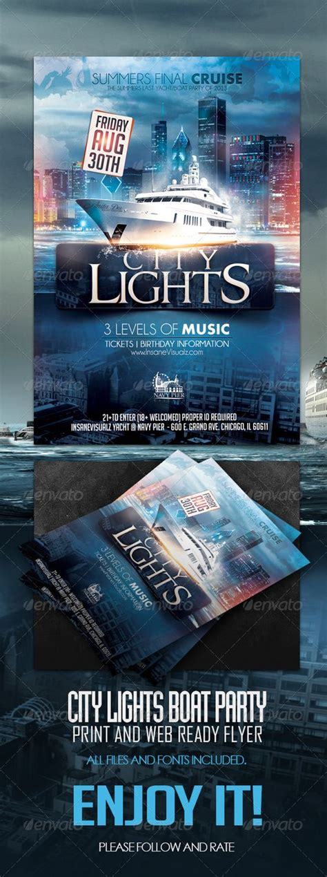 City Lights Party Flyer And Adobe Photoshop On Pinterest Free Boat Flyer Template