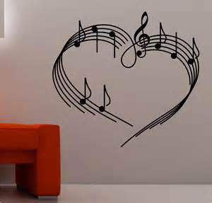 Painting Graffiti On Bedroom Walls Music Notes As A Heart Wall Art Sticker Vinyl Music