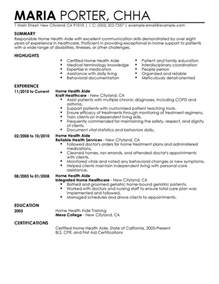 Home Health Aide Resume Template by Unforgettable Home Health Aide Resume Exles To Stand