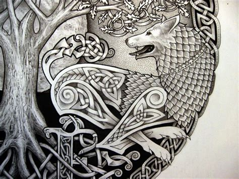irish wolf tattoo designs celtic tree n wolf design jpg 720 215 540