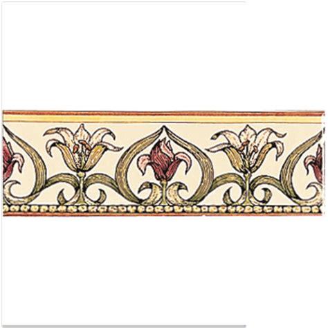 Decorative Bathroom Tile Borders - art nouveau lily classical decorative border green on brilliant white gloss tile 152 x 50 mm
