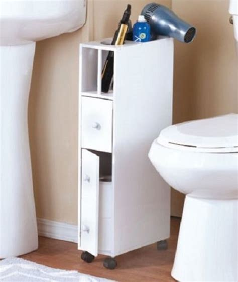 Small Bathroom Storage Cabinet Bathroom Storage Cabinet Narrow Space Saver Cabinet W Drawers White Small Cubby Ebay