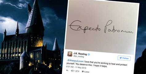 j k rowling casts an expecto patronum spell for a fan in