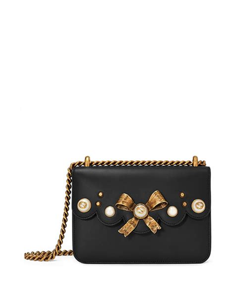Small Leather Chain Bag by Gucci Peony Small Leather Chain Shoulder Bag Black