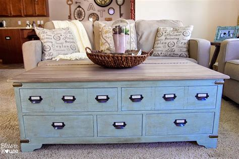 faux planked coffee table makeover card catalog style