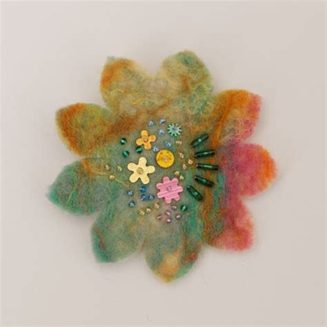 Handmade Flower Brooches - handmade green felt flower brooch feltdecorations co uk