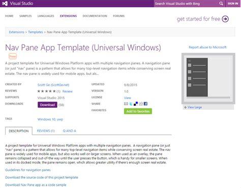 windows app templates windows 10 nav pane app template for visual studio 2015