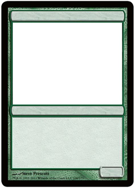 magic card size template mtg blank green card by growlydave on deviantart