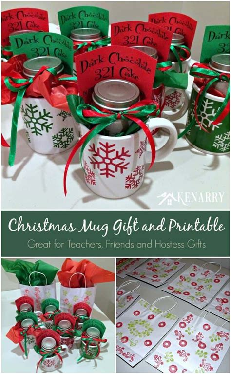 easy christmas party favors mug gift with free printable