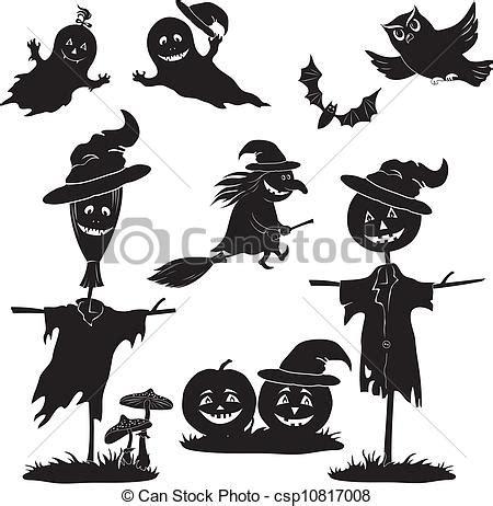 imagenes en blanco y negro de halloween vector clip art de halloween caricatura conjunto negro