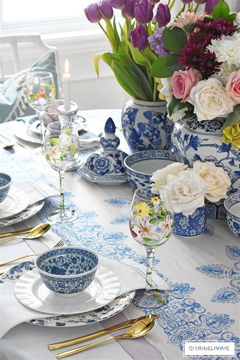 easter tablescape  blue  white  lavender