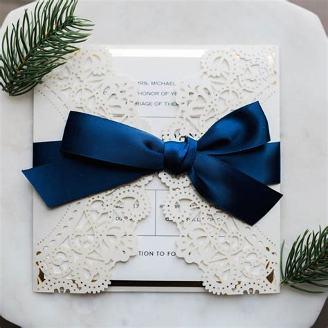 navy blue ribbon wedding invitations luxury pearl white laser cut wedding invitations with navy blue ribbon and glittery mirror paper