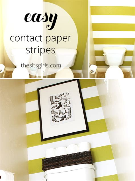 How To Make Contact Paper - decorating a small bathroom easy wall stripes