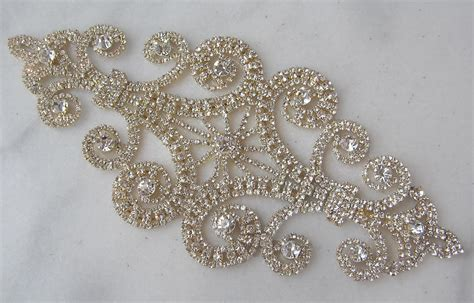 gold applique gold rhinestone applique clear rhinestone wedding