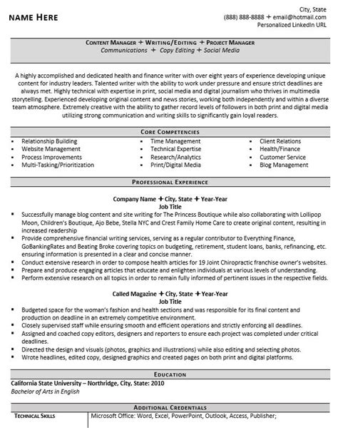 Professional Resume Writers by Professional Writer And Editor Resume Exle Zipjob