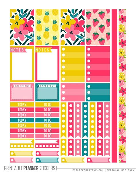 Free Printable Planner Pages Classic Size | tropical summer free printable planner stickers for the