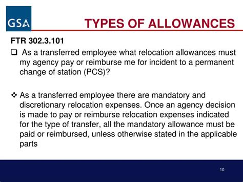types of pattern allowances ppt ppt federal travel regulation ftr for non defense