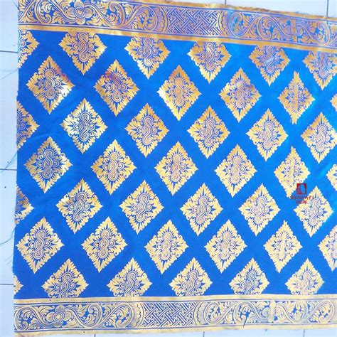 jual kain dekorasi prada bali motif ukiran wajik biru sukawati grosir