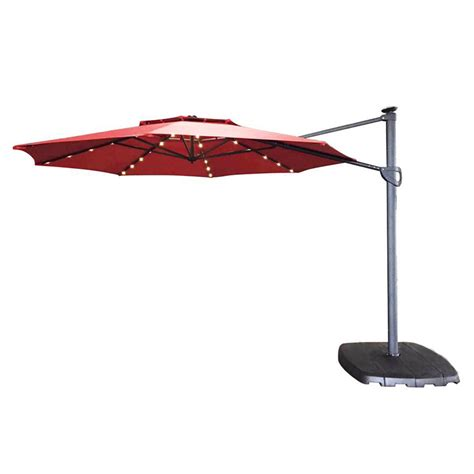 Offset Patio Umbrella With Base Shop Simply Shade Offset Patio Umbrella Base Included Common 11 Ft W X 13 Ft L Actual 10